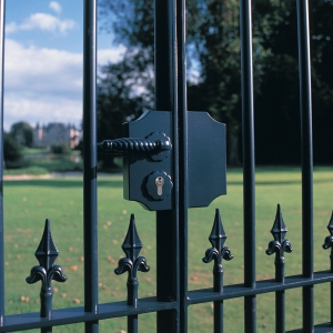 LAKYF2 TK  Black ornamental gate on golf terrain  1920px